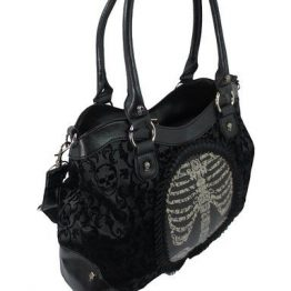 Flocked Cameo Ribcage Handbag - Banned Apparel