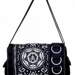 Pentagram Black Messenger Bag - Banned Apparel