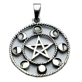 Silver Pendant Pentagram Phases of the Moon