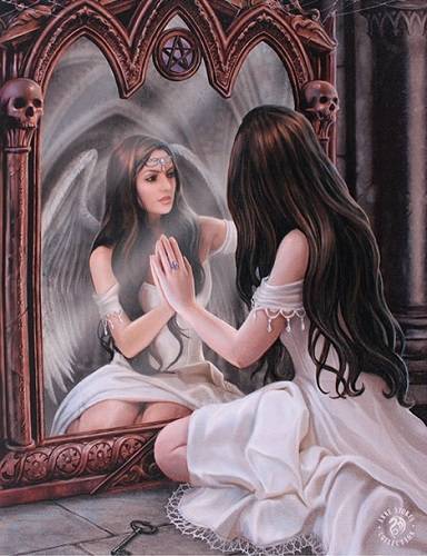 AN37 Magical Mirror Anne Stokes Greetings Card