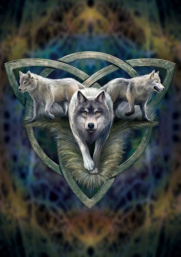 AN93 Wolf Trio Anne Stokes Greetings Card
