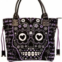 Purple Sugar Skull Shoulder Bag Banned Apparel