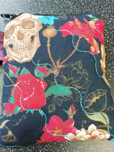 Skulls and Flowers Coin Purse Handmade