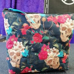 Skulls and Flowers Make Up Bag Handmade