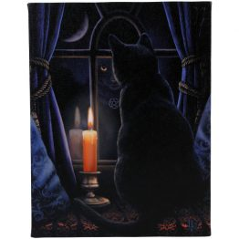 A Midnight Vigil design canvas stretched over a wooden frame wall plaque. Designed by Lisa Parker.