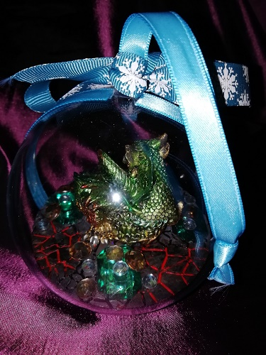 Dragon Bauble Green and Blue