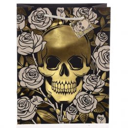 Metallic Skulls and Roses Gift Bag Large