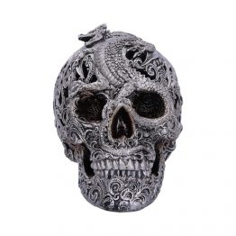 Silver Cranial Drakos Engraved Dragon Skull Ornament