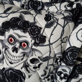 Handmade Skulls and Roses Cushion