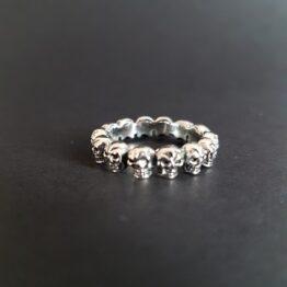 Skull Circle Ring Sterling Silver