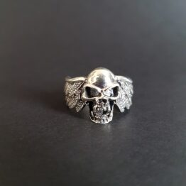 Skull with Wings Ring Sterling Silver