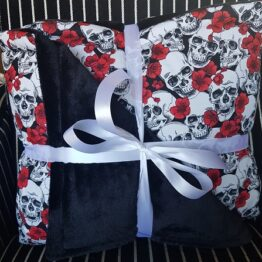 Handmade Sketched Skull and Red Floral Throw